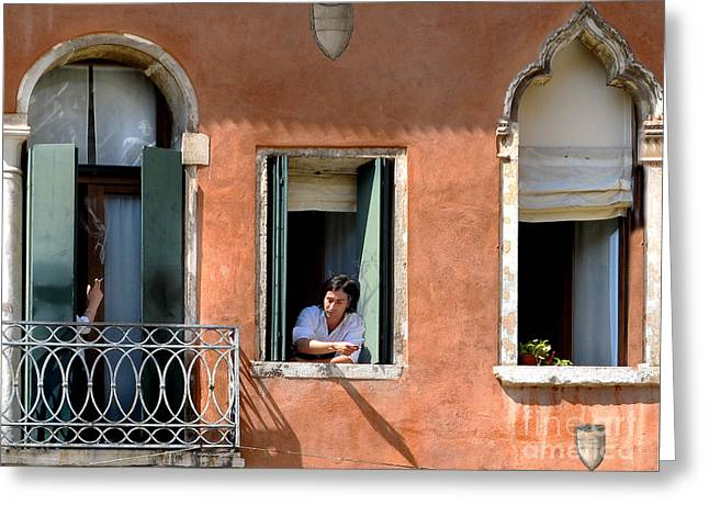 Chance Meeting In Venice Greeting Card by Jennie Breeze