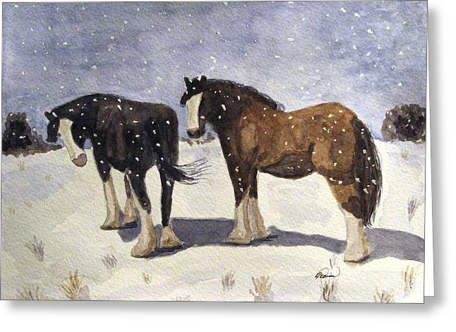 Greeting Card featuring the painting Chance Of Flurries by Angela Davies