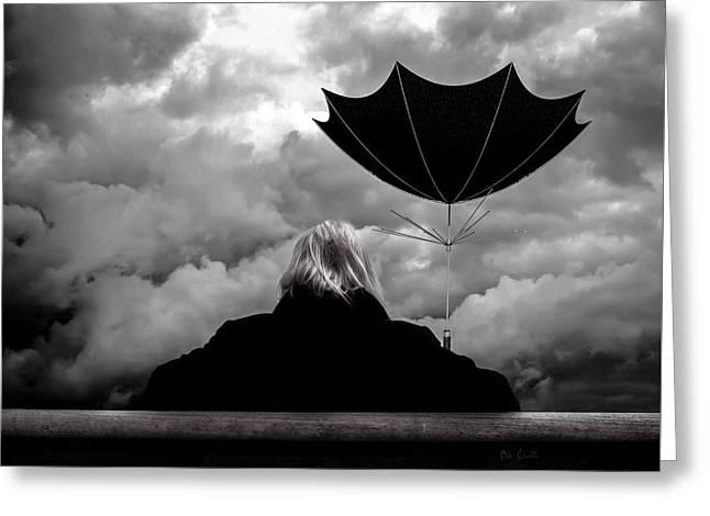 Chance Of Rain   Broken Umbrella Greeting Card by Bob Orsillo