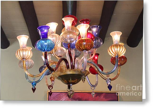 Chandelier At The Hotel California Greeting Card by Linda Queally