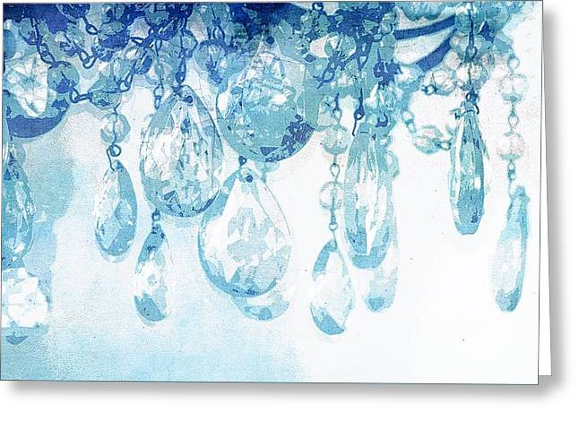 Chandelier Crystals In Blue Greeting Card by Suzanne Powers