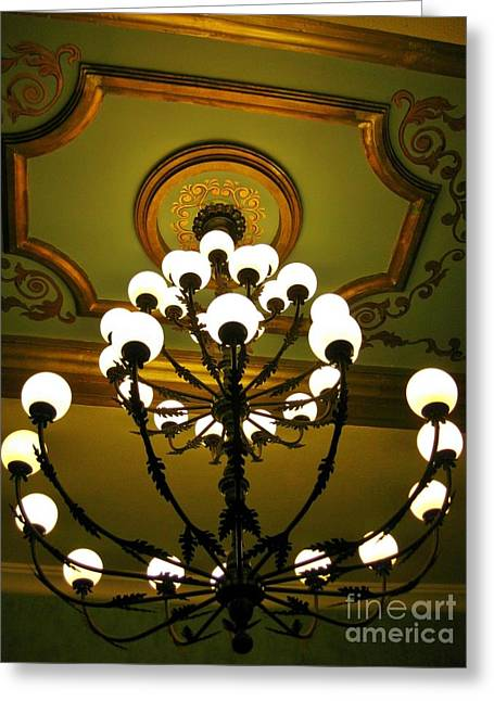 Chandelier In Hotel Lobby Greeting Card