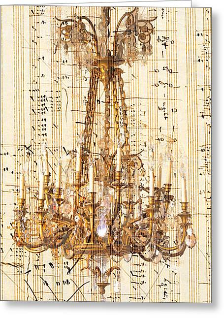 Chandelier With Franz Liszt Music Score Greeting Card by Suzanne Powers