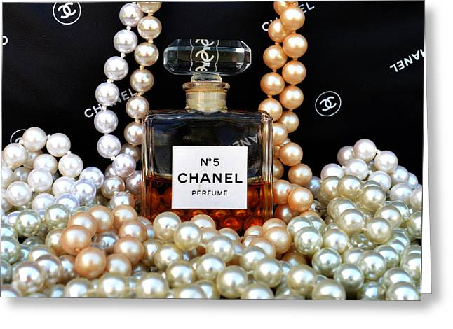 Chanel No 5 With Pearls Greeting Card