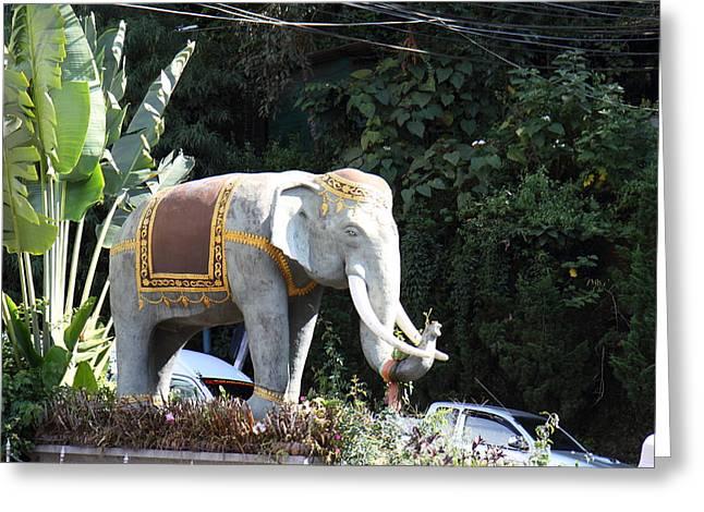 Chang Statue - Wat Phrathat Doi Suthep - Chiang Mai Thailand - 01131 Greeting Card