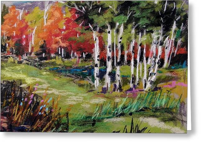Greeting Card featuring the painting Changing Birches by John Williams