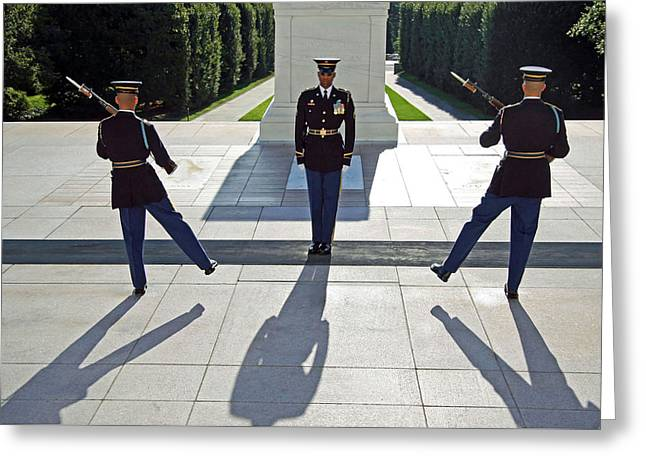Greeting Card featuring the photograph Changing Of The Guard by Cora Wandel