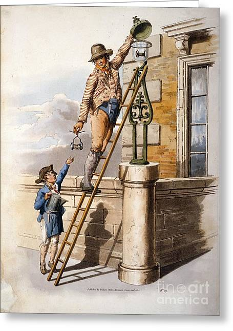 Changing Street Lamp Burner, 1805 Greeting Card by British Library