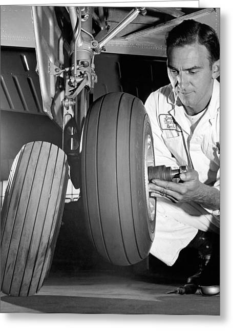 Changing Tires On A Plane Greeting Card by Underwood Archives
