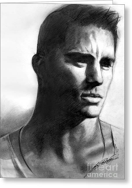 Channing Tatum Greeting Card by Lin Petershagen
