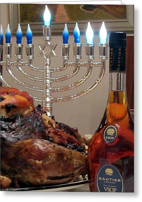Chanukah Thanksgiving Celebration Greeting Card by Vadim Levin