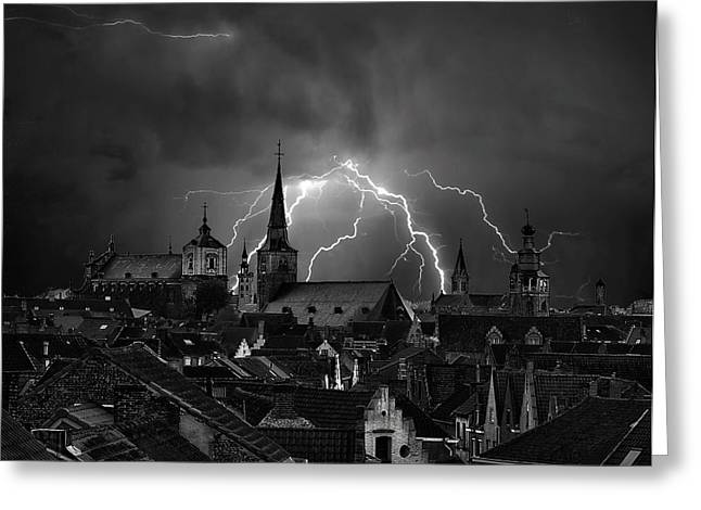 Chaos In The Sky Of Bruges Greeting Card