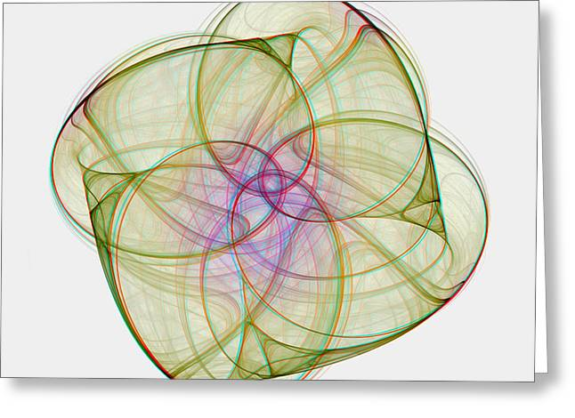Chaoscope Abstract 3d Stereo - Use Red-cyan Filtered 3d Glasses Greeting Card by Brian Wallace