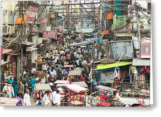 Chaotic Streets Of New Delhi In India Greeting Card