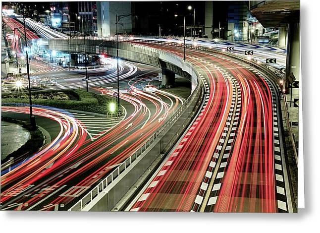 Chaotic Traffic Greeting Card by Koji Tajima