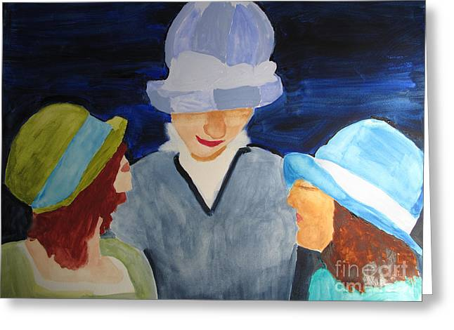 Greeting Card featuring the painting Chapeaux Trois by Sandy McIntire