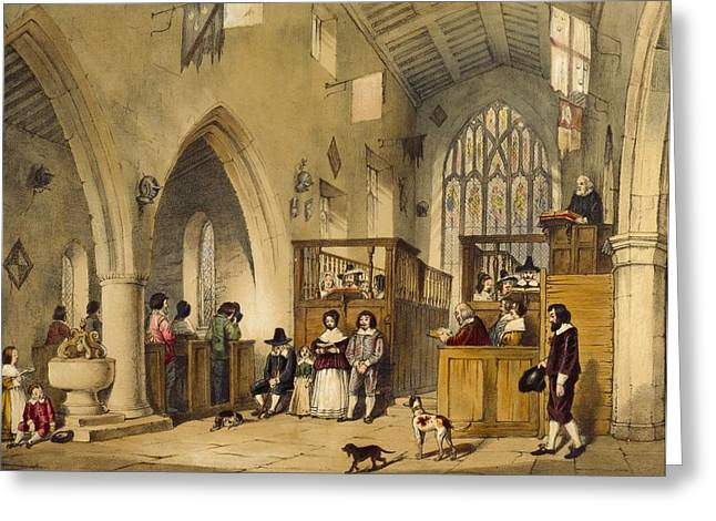 Chapel At Haddon Hall, Derbyshire Greeting Card by Joseph Nash