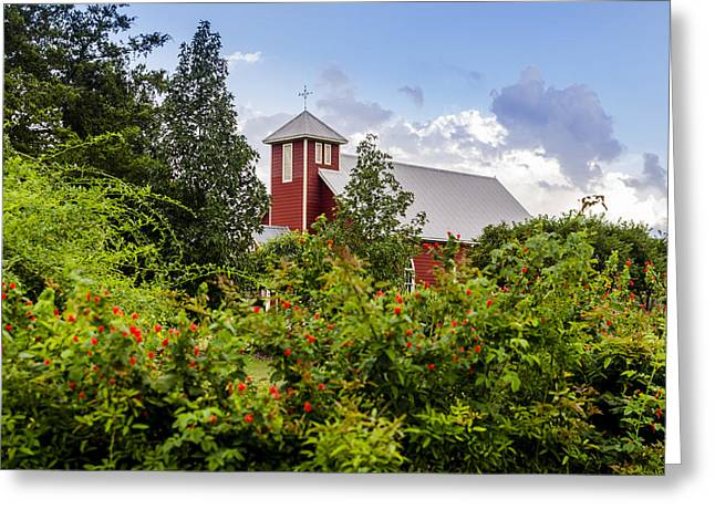 Chapel At The Antique Rose Emporium Greeting Card by David Morefield