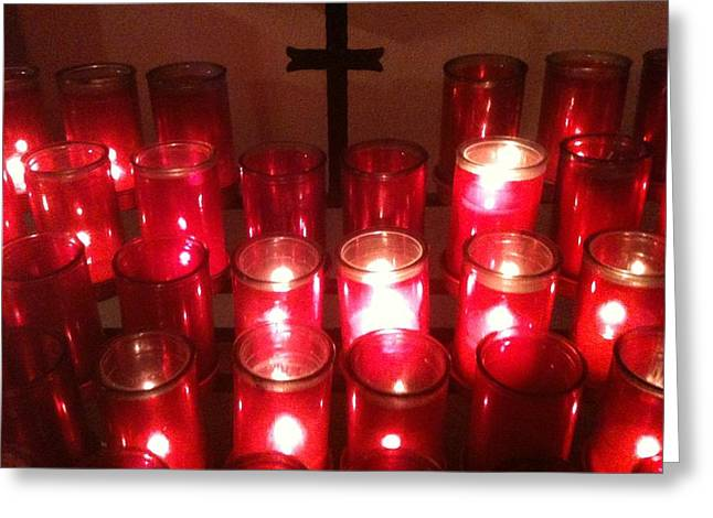 Chapel Candles Greeting Card by Tina Nies