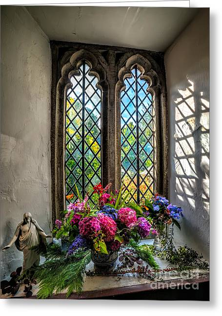 Chapel Flowers Greeting Card by Adrian Evans