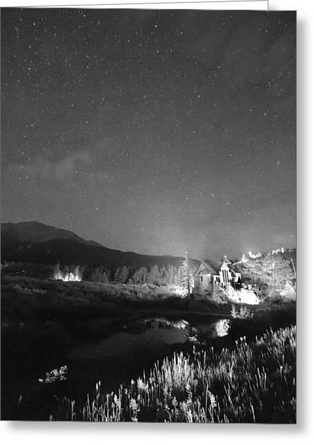 Chapel On The Rock Stary Night Portrait Bw Greeting Card