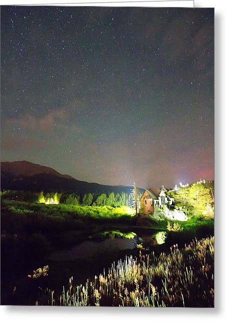 Chapel On The Rock Stary Night Portrait Greeting Card