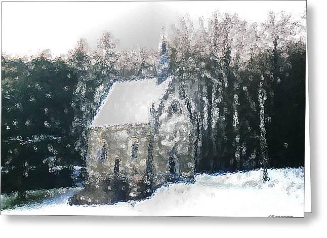 Chapel Under Snow Greeting Card by Christian Simonian