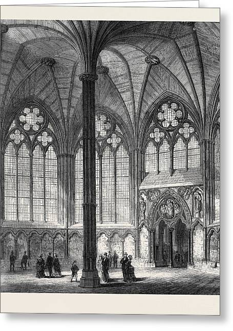 Chapter-house Of Westminster Abbey Lately Restored 1873 Greeting Card