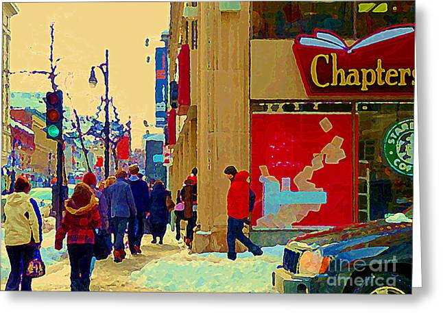 Chapters Book Store Downtown Montreal Winter Shopping St Catherine Street Scene C Spandau Greeting Card