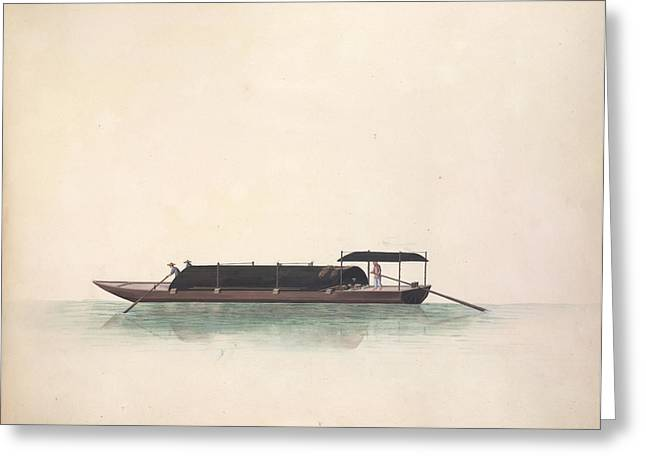 Charcoal Boat Greeting Card by British Library