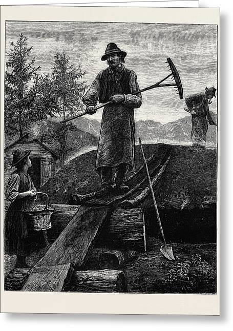 Charcoal Burners In The Alps Greeting Card