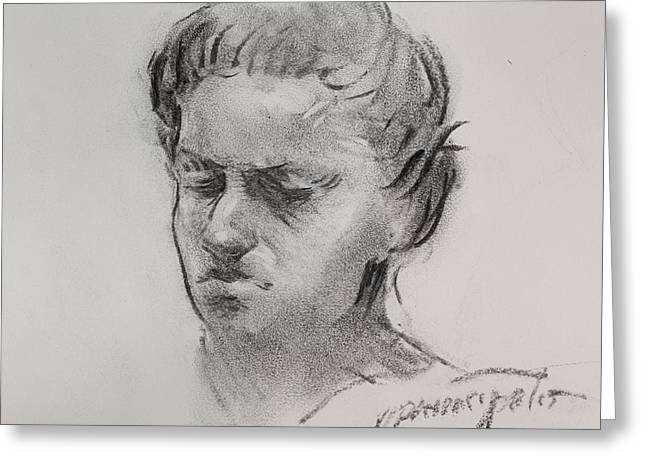 Charcoal Portrait Sketch Greeting Card by Ernest Principato