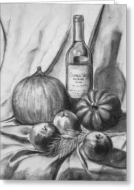Greeting Card featuring the drawing Charcoal Still Life Harvest by Dee Dee  Whittle