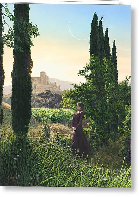 Chardonnay Wine Country Fantasy Greeting Card by Stu Shepherd