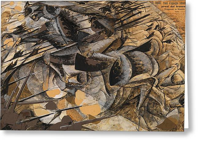 Charge Lancers Greeting Card by Umberto Boccioni