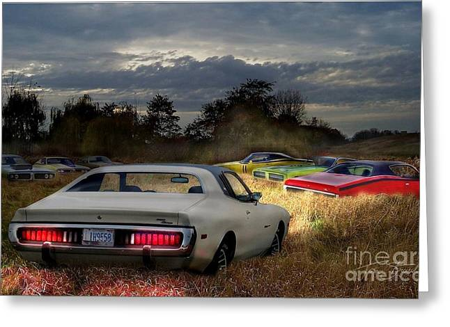 Charger Field Greeting Card by Tom Straub