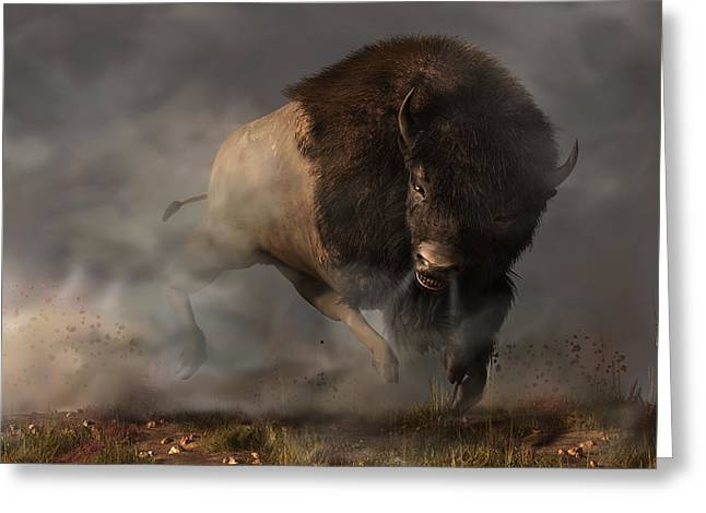 Charging Bison Greeting Card