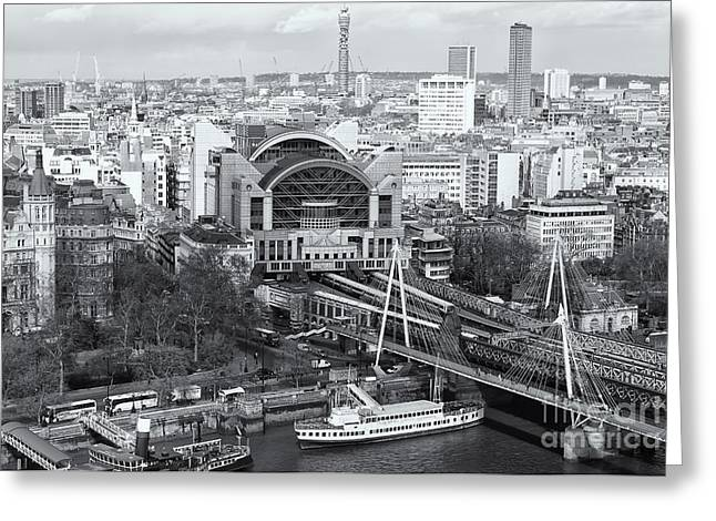 Charing Cross Station And Hungerford Bridge II Greeting Card by Clarence Holmes