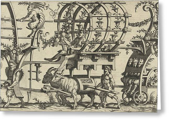 Chariot Drawn By A Satyr And Two Bulls, Print Maker Greeting Card