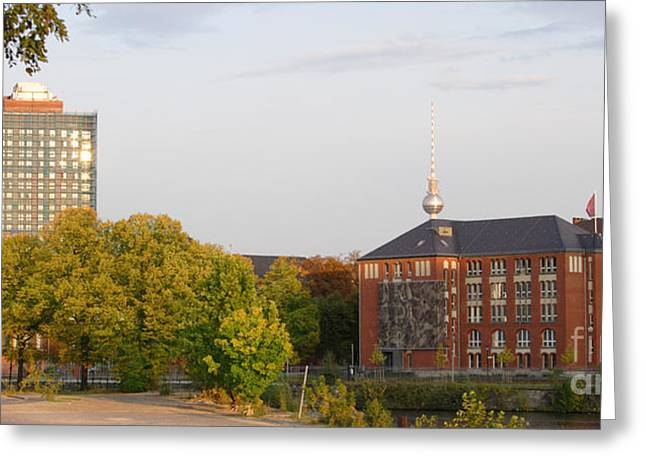 Greeting Card featuring the photograph Charite And Alexanderturm In Berlin by Art Photography