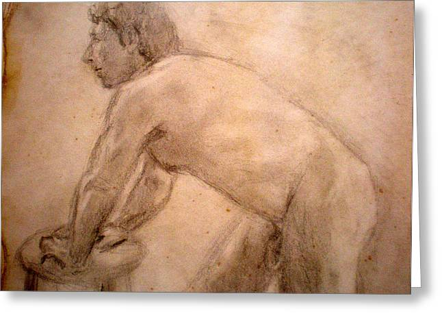 Charity Figure Drawing 2 Greeting Card by Steve Spagnola