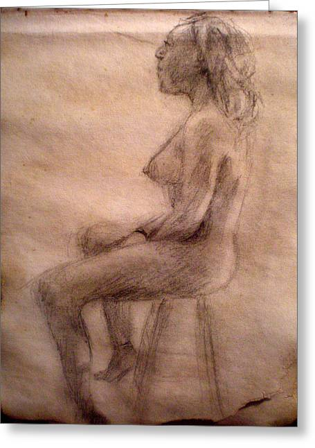 Charity Figure Drawing 3 Greeting Card by Steve Spagnola