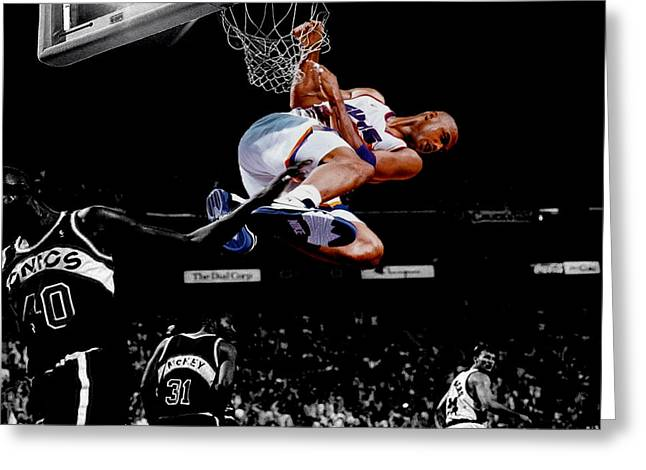 Charles Barkley Hanging Around Greeting Card by Brian Reaves