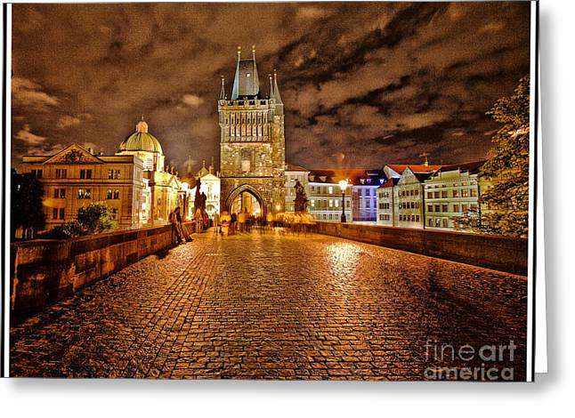 Charles Bridge At Night Greeting Card