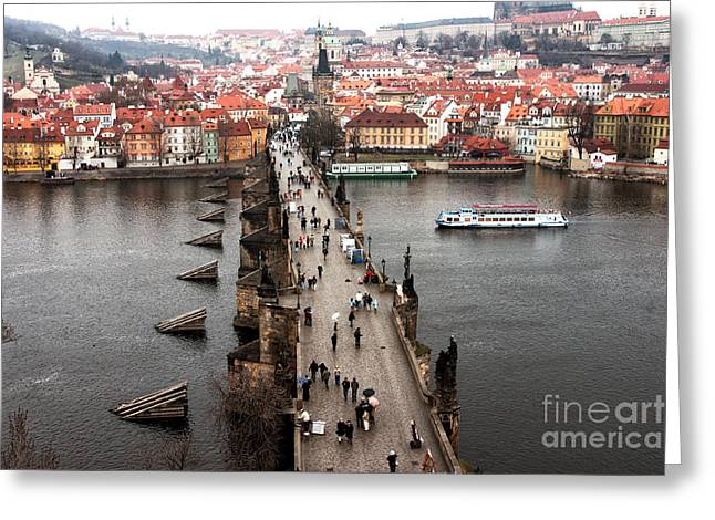 Charles Bridge I Greeting Card by John Rizzuto