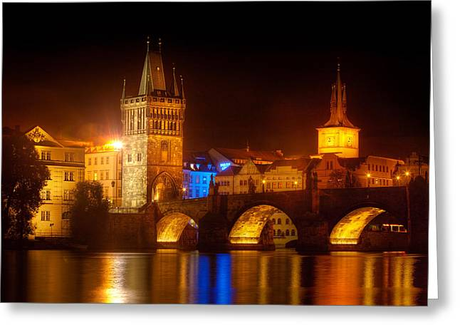 Charles Bridge II- Prague Greeting Card by John Galbo