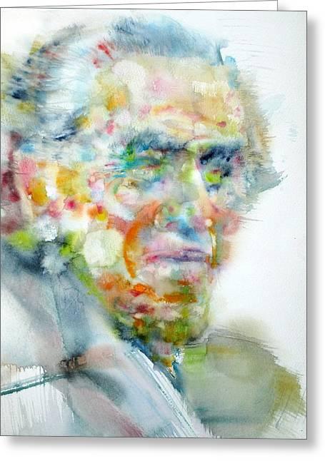 Charles Bukowski - Watercolor Portrait Greeting Card