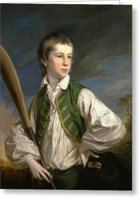 Charles Collyer As A Boy, With A Cricket Bat Signed Greeting Card