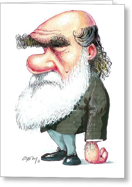 Charles Darwin Greeting Card by Gary Brown