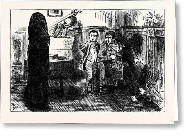 Charles Dickens Sketches By Boz The Black Veil Greeting Card